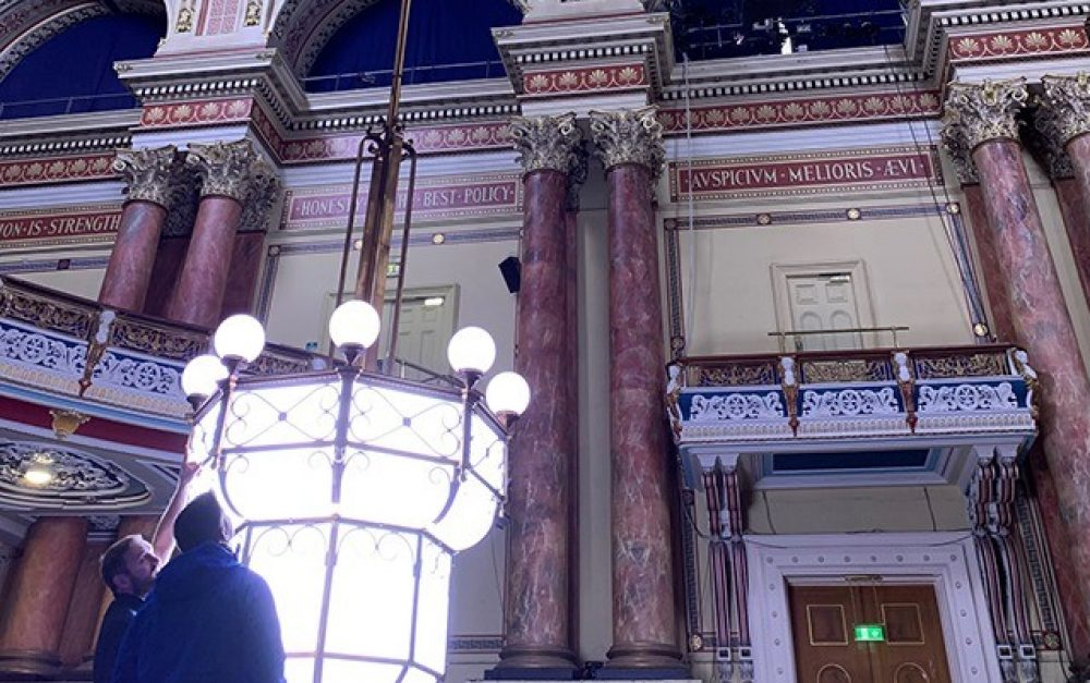Leeds Town Hall – Chandelier Winch – Solution – Light Down
